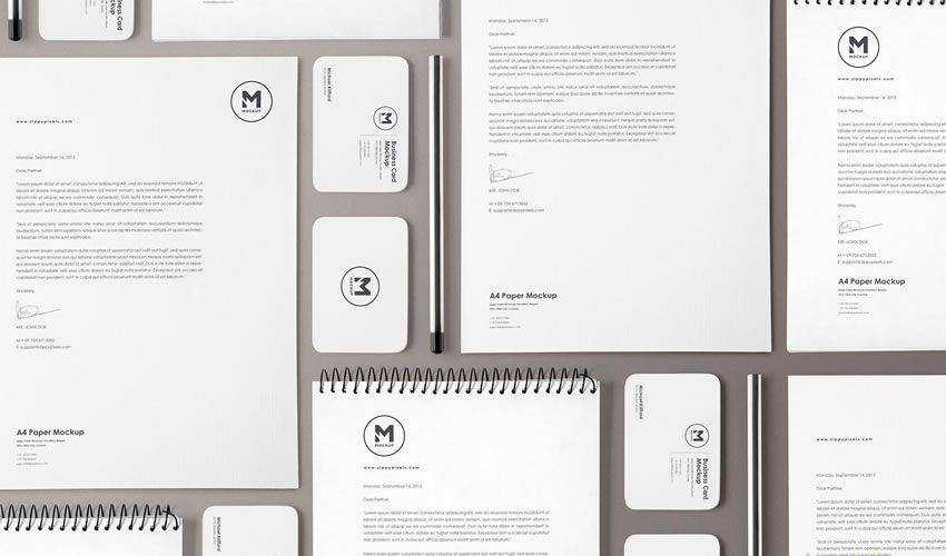 Stationery Mockup Set PSD PSD Photoshop Free