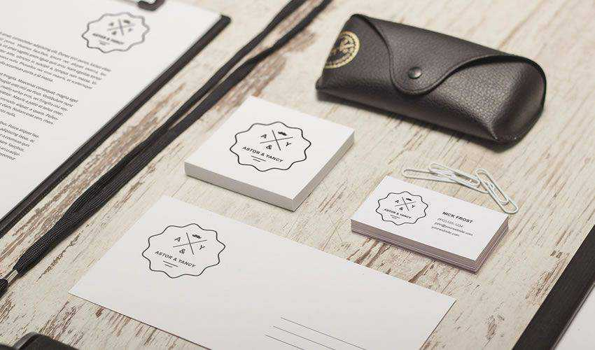 Retro Business Card & Branding Mockup Scene PSD Photoshop Free