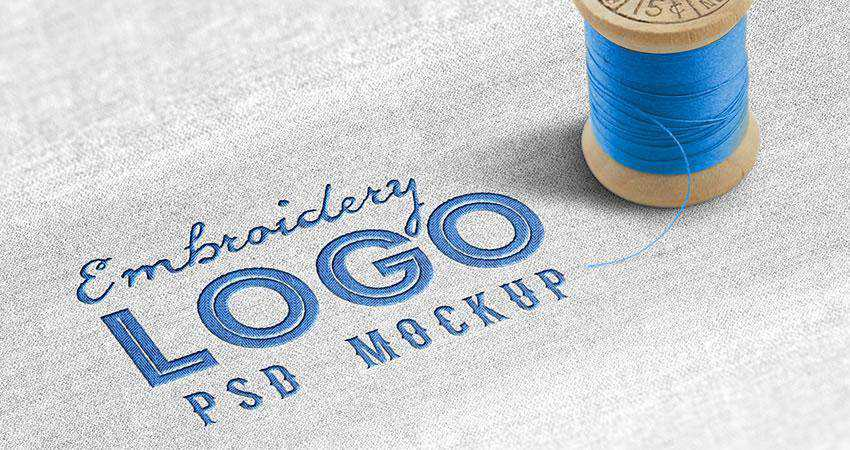 Fabric Embroidered Logo Mockup PSD Photoshop PSD Free
