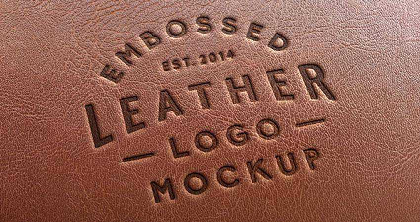 Leather Stamping Logo Mockup Template Photoshop PSD Free