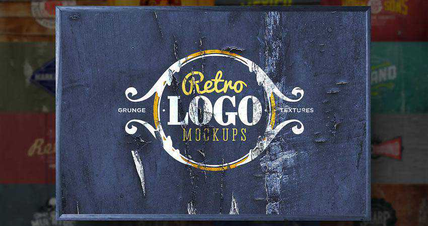 Retro Logo Mockups Photoshop PSD Free