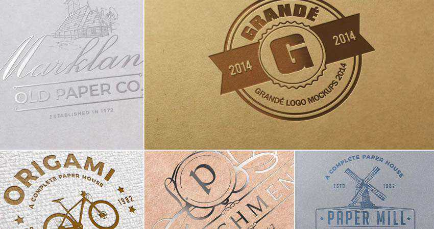 Paper Logo Mockup Templates Photoshop PSD Free