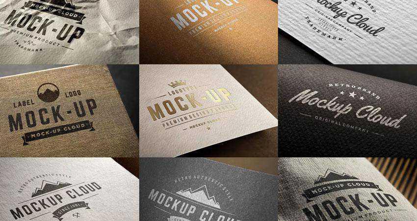 Logo Mockup Set Photoshop PSD Free