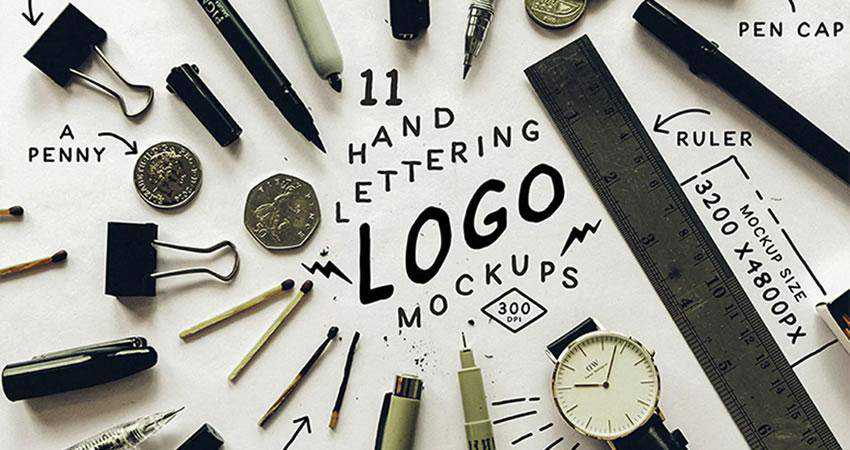 Hand Lettering Logo Mockups Photoshop PSD Free