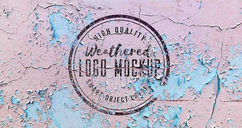 Weathered Logo Mockup Photoshop PSD Free