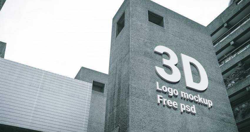 3D Logo Mockup PSD Template Photoshop PSD Free