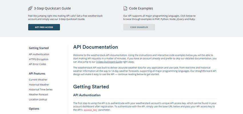weatherstack API documentation screen.