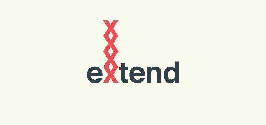 Extend Logotype clever typography in logo design