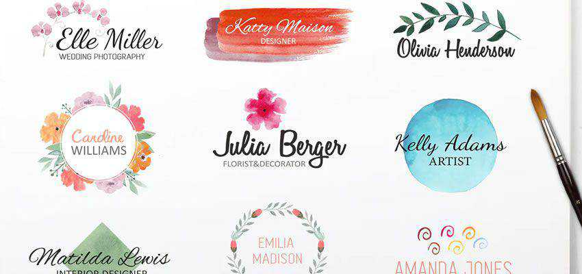 Watercolor clever typography in logo design
