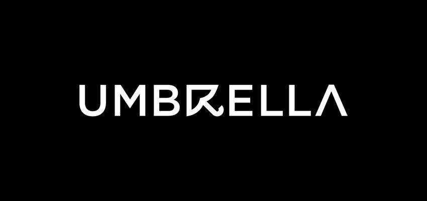 Umbrella Wordmark clever typography in logo design
