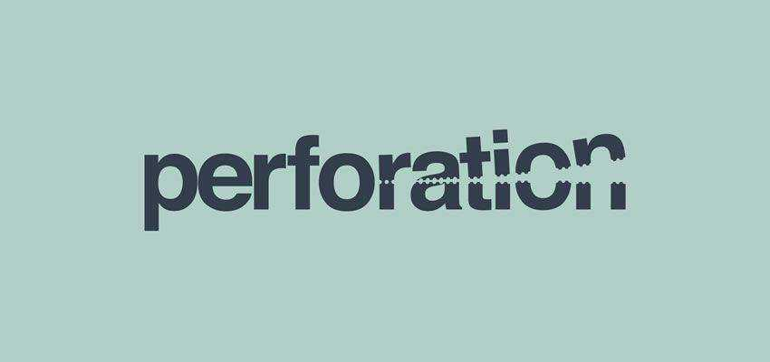 Perforation Logotype clever typography in logo design