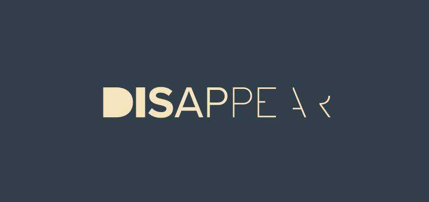 Disappear Logotype clever typography in logo design