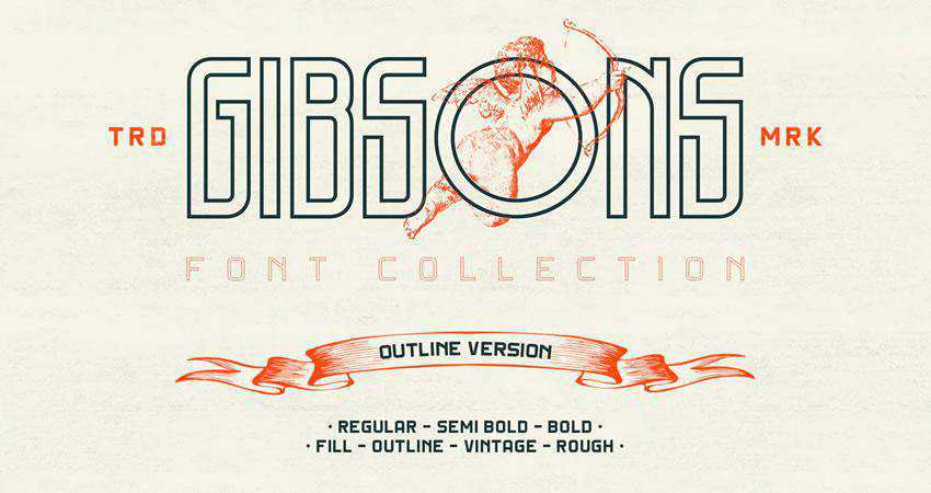 Gibsons - free outline font family