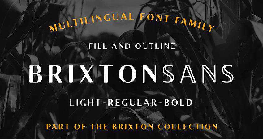 Brixton Sans - free outline font family