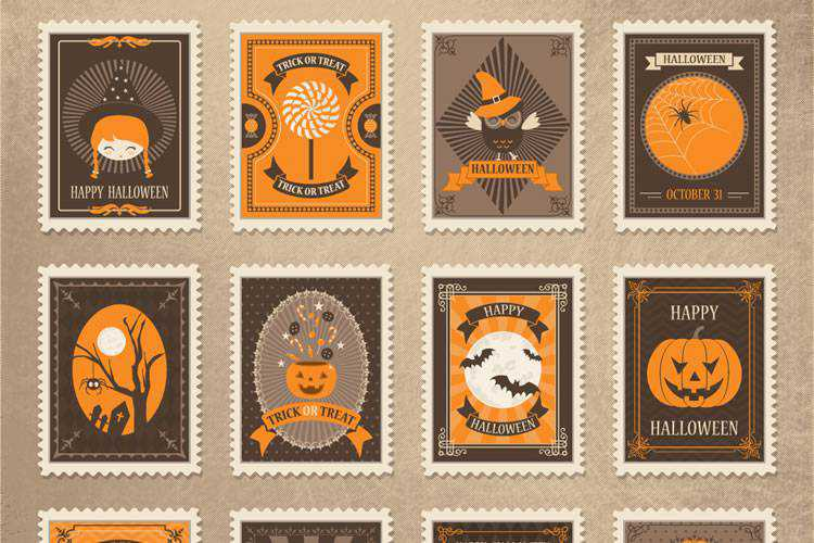 Freebie: Vintage Vector Halloween Stamps (AI, EPS, SVG & PSD)
