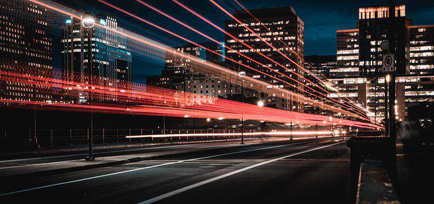 Blurry lights on a city street.