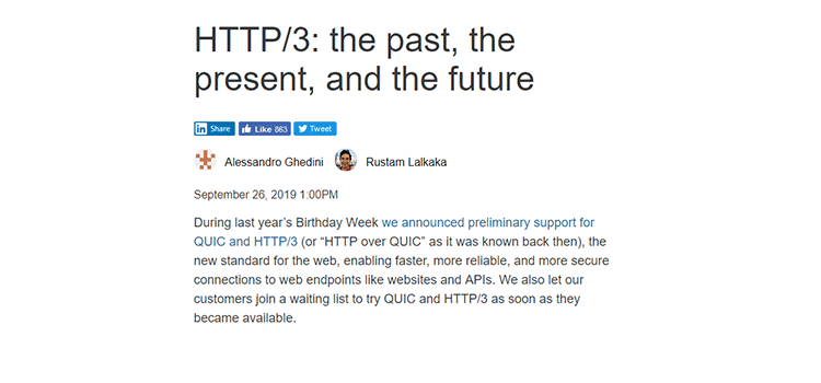 HTTP/3: the past, the present, and the future