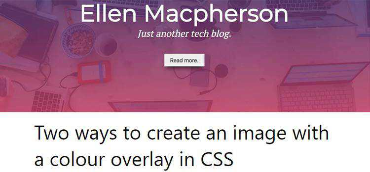 Two ways to create an image with a colour overlay in CSS