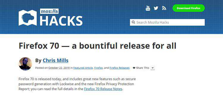 Firefox 70 — a bountiful release for all
