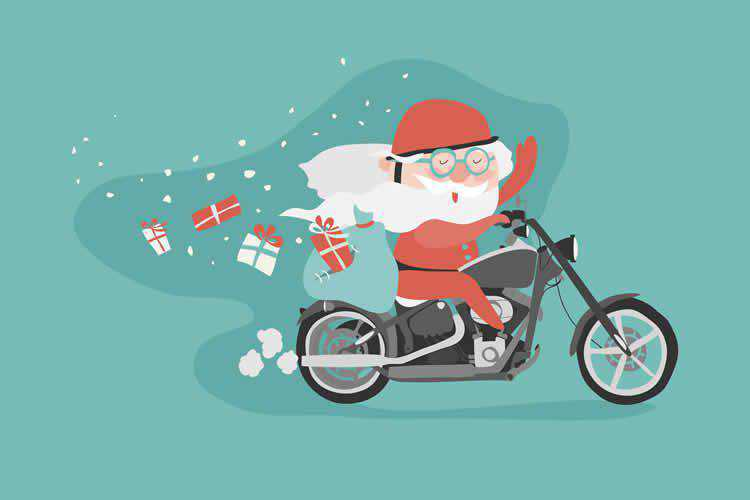 Santa on a Motorcycle Vector Template