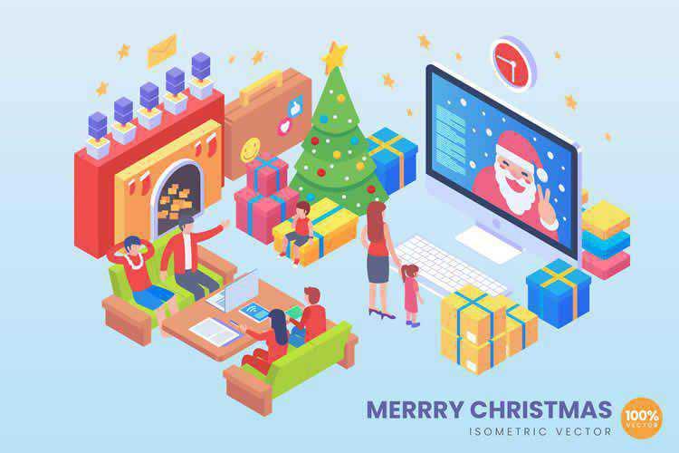 Isometric Merry Christmas Vector