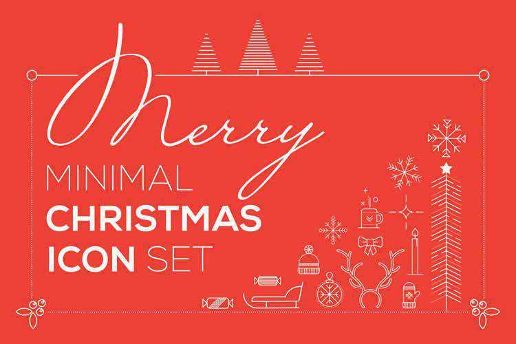 Merry Minimal Christmas Icon Set