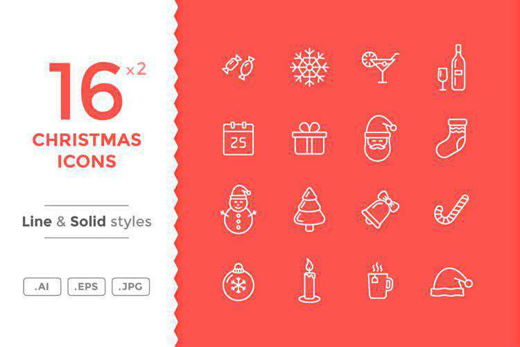 Line & Solid Christmas Icons