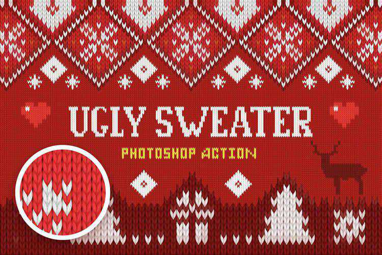 Ugly Christmas Sweater Photoshop Action