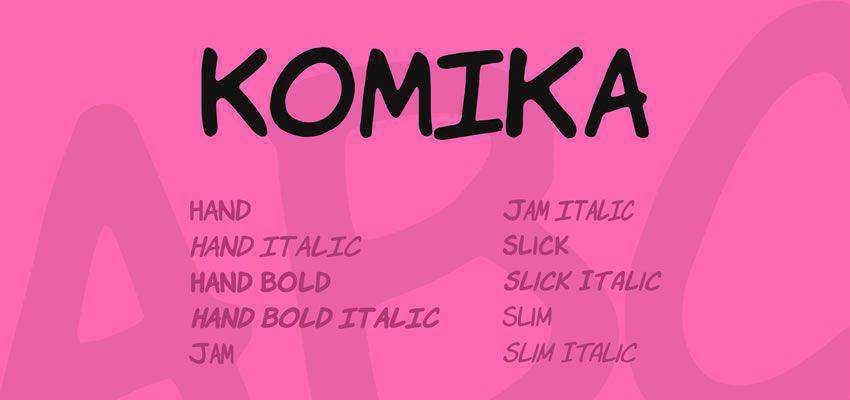 Komika Font Family free comic cartoon font family