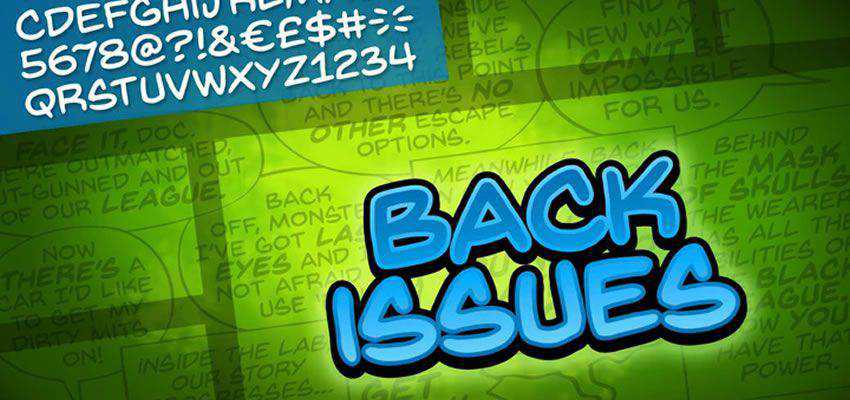Back Issues Comic Font free comic cartoon font family