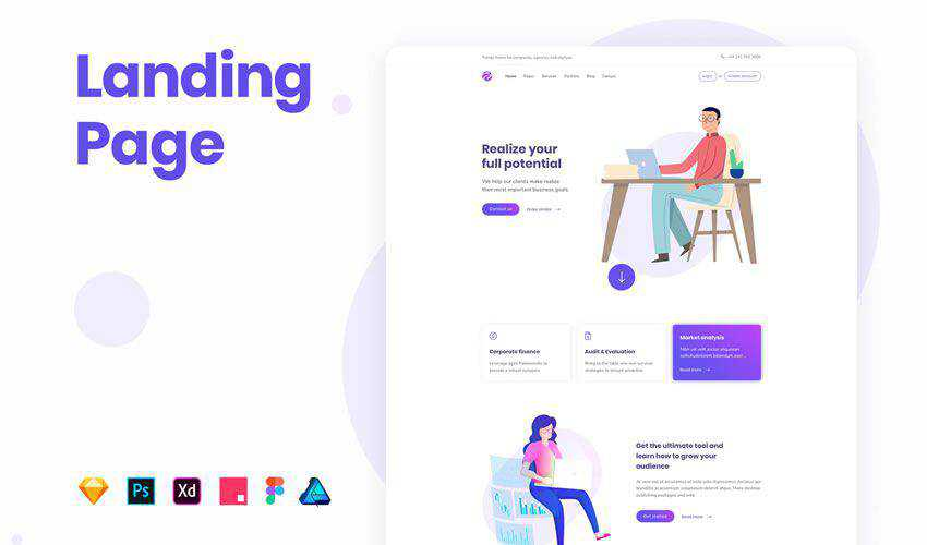 Agency Landing Page free figma ui web layout template