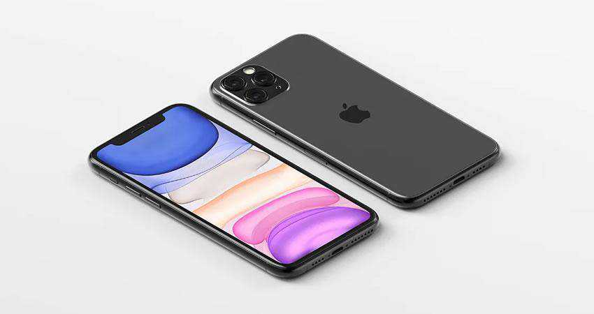 Isometric iPhone 11 Pro Max - free iphone mockup template psd photoshop