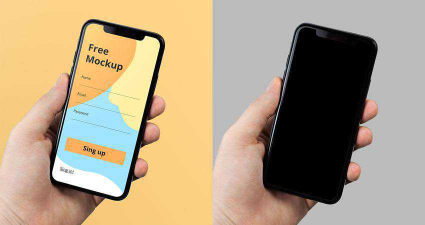 iPhone X in Hand free iphone mockup template psd photoshop