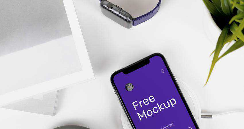 X on Desk free iphone mockup template psd photoshop