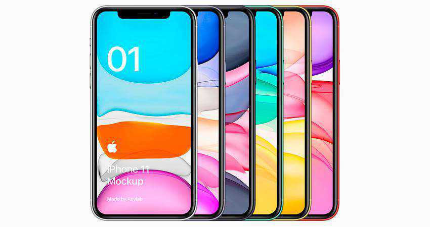 iPhone 11 Colorful Mockup free iphone mockup template psd photoshop