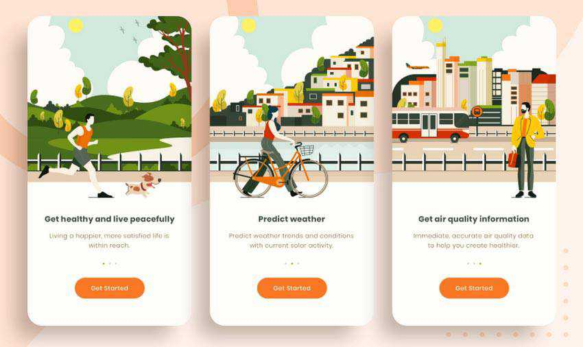 Onboarding Screen for Air Quality App by Erfan Rohmat Arif