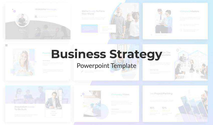 Minimalist powerpoint business strategy presentation template