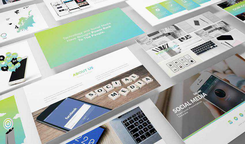 Clean Modern powerpoint social media presentation template