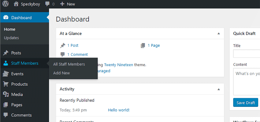 A Staff Members custom post type in WordPress.
