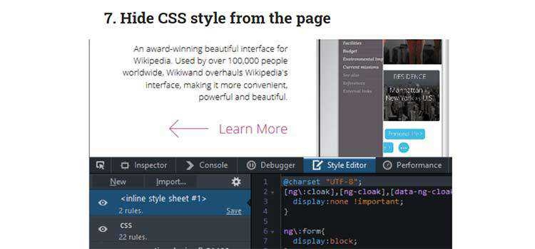 Example from 10 Useful Firefox Developer Tools You Should Know