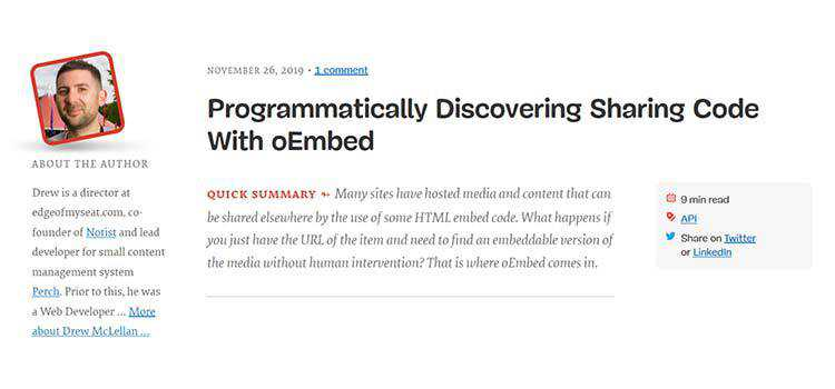 Example from Programmatically Discovering Sharing Code With oEmbed