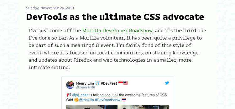 Example from DevTools as the ultimate CSS advocate