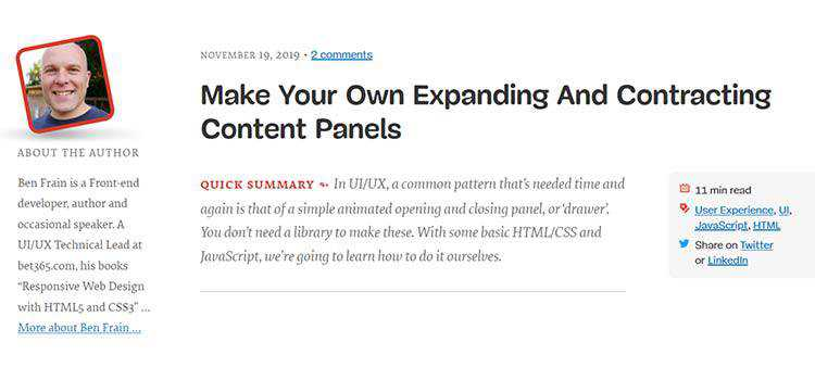 Example from Make Your Own Expanding And Contracting Content Panels