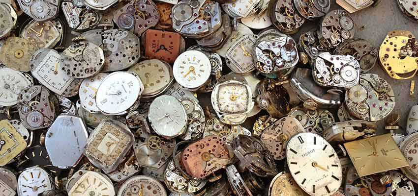A pile of clocks.
