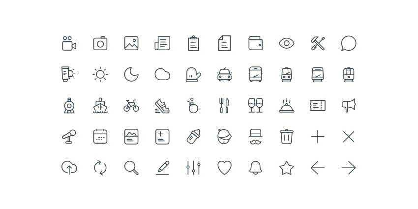 20x20 Free Line Icon Set AI Sketch
