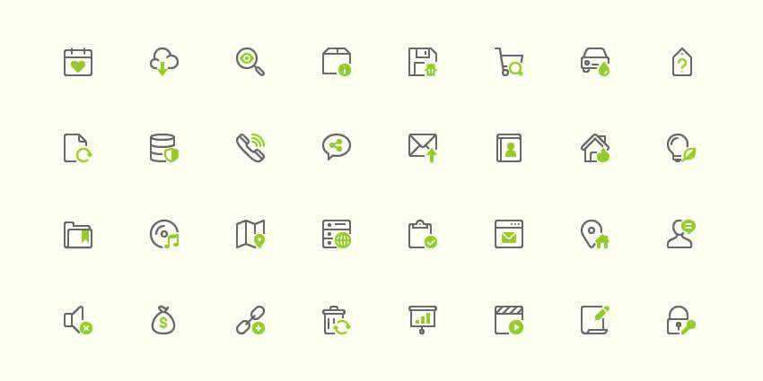 40 Mini AI EPS PNG SVG designer monthly free resources icon set