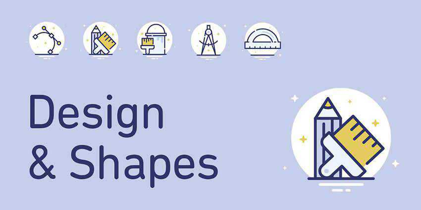 25 Design Shapes Icons AI EPS SVG PNG