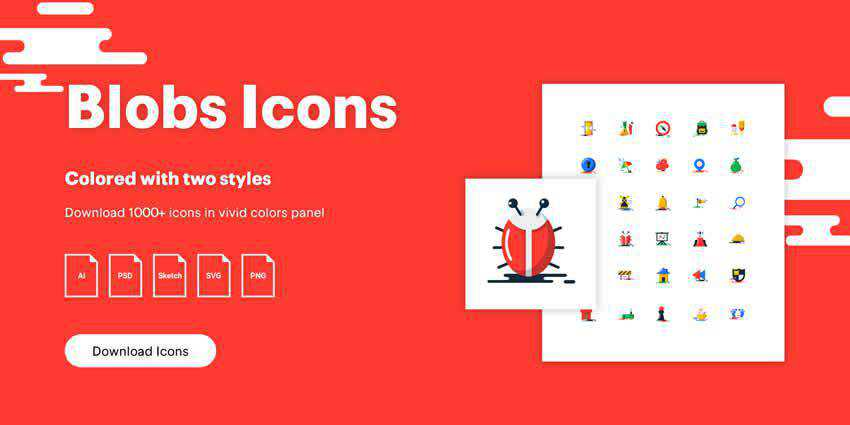 Blobs Flat Icons AI PSD SVG