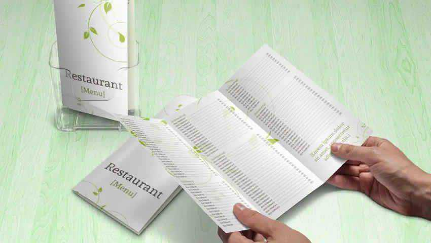 Green Swirls Tri-Fold Menu/Brochure Template