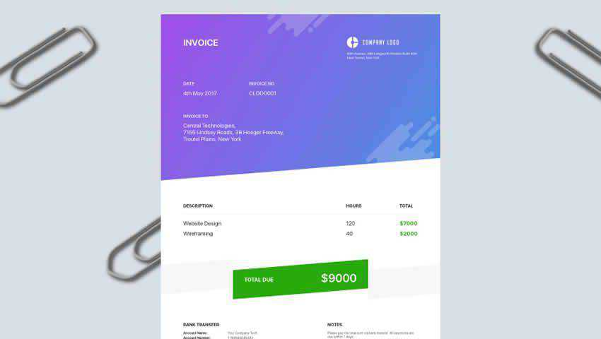 Modern Invoice Template Sketch
